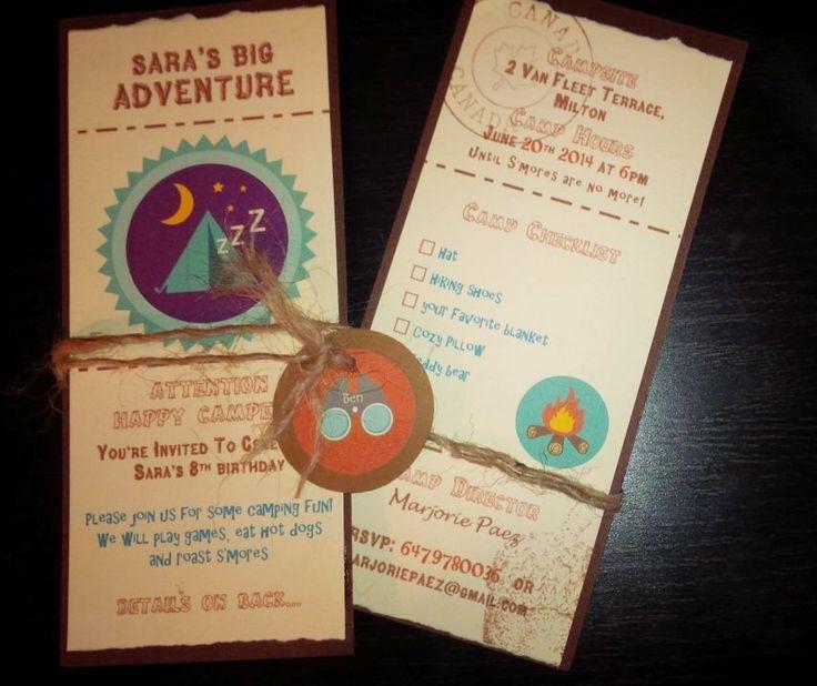 """camping party"" birthday invitations"