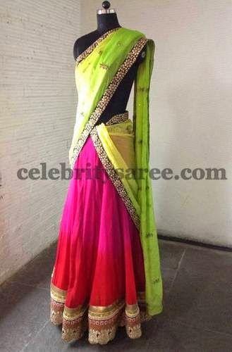 Kundan Work Simple Half Sari | Saree Blouse Patterns