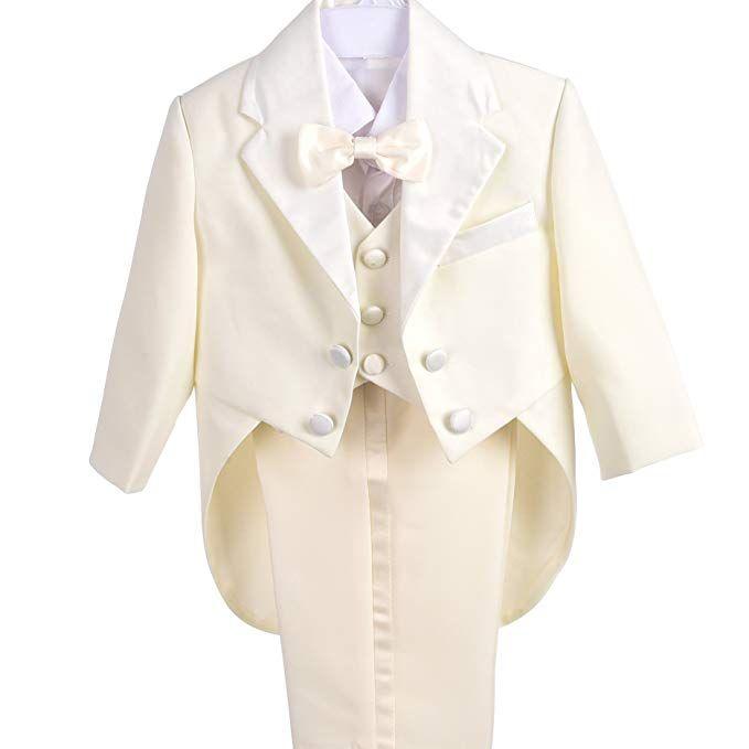 5pcs Set Boys Black Gold FORMAL Tuxedo Suit Vest Wedding Baby Size 12-18m ST015A