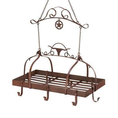 Copper colored iron rack has eight hooks for your pots and pans. Its longhorn, lasso and lone star adornments above the flat rack give this handy piece a true Texan theme for your décor. http://www.collectmisc.com/product.asp?dept_id=47090=D1159#  YOUR PRICE: $55.90 (44.1% Off)