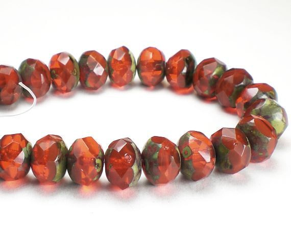 Picasso Czech Glass Beads 6 x 8mm Orange with Light by royalmetals