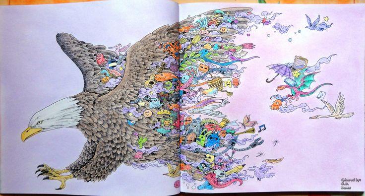 Animorphia - Eagle  Coloured with Aihao pencils