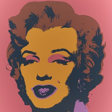 "ETTER ANDY WARHOL AMERIKANSK 1928 - 1987  Marilyn Monroe Fargeserigrafi, 91x91 cm (papirmål) Usignert Uten ramme   Stemplet på baksiden: ""Published by Sunday B. Morning"" samt ""Fill in your own signature"""