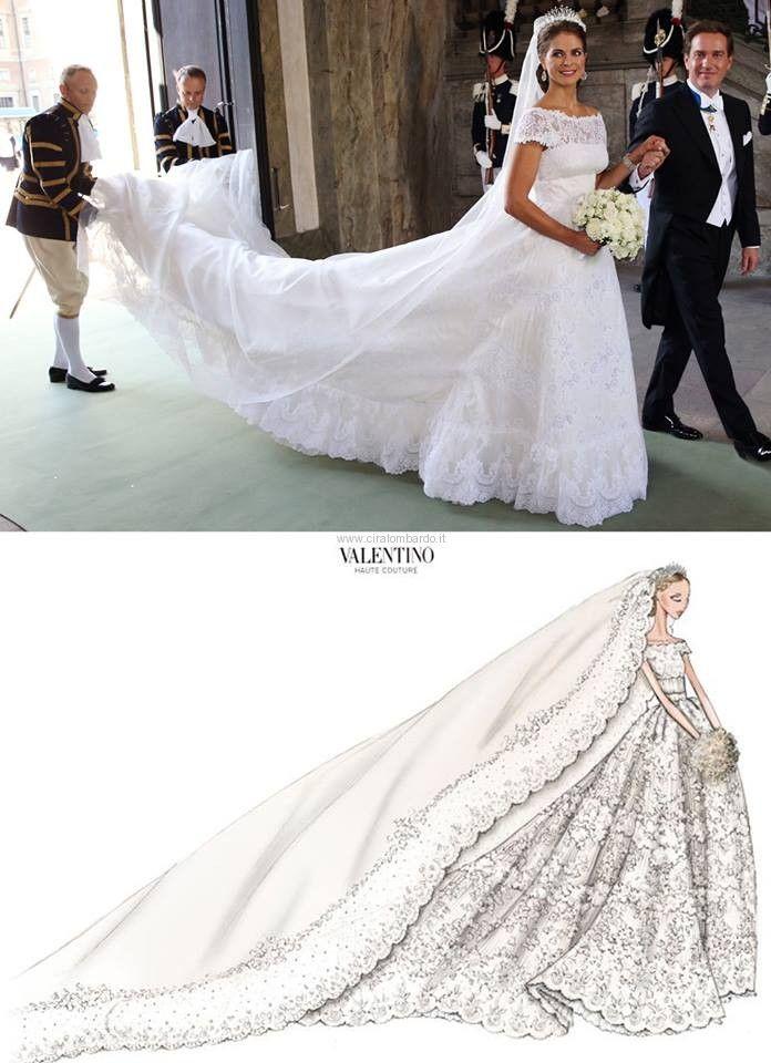 8/6/2013 Madeleine principessa di Svezia e Chris O'Neil. Abito disegnato dalla maison Valentino.