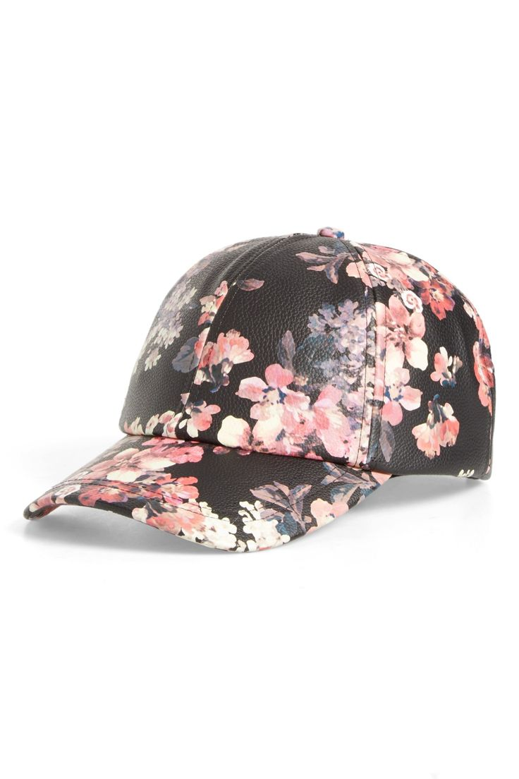 Floral Faux Leather Baseball Cap by BP. on @nordstrom_rack