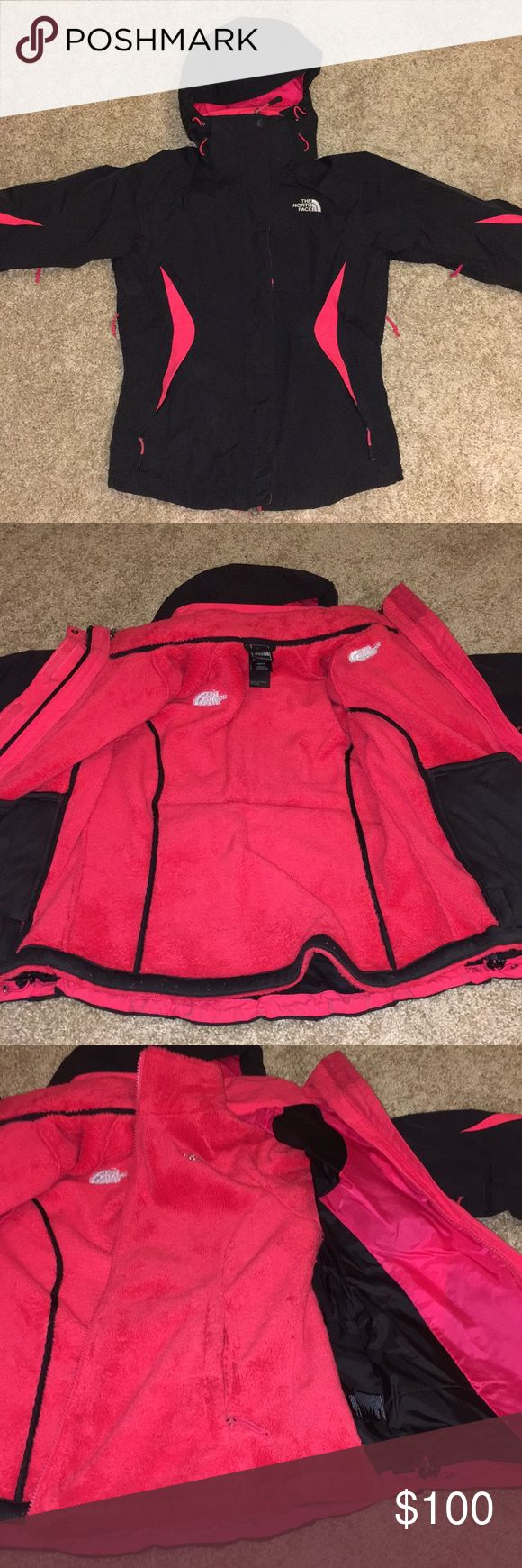 North Face Women's Winter Jacket 3 in 1 jacket triclimate jacket with a fuzzy jacket on the inside that can be taken out, outer shell is in good condition as well as the inside jacket. There are vents in the arms and the hood can be removed. Can be worn in rain or snow or just on a windy day. Keeps you very warm North Face Jackets & Coats