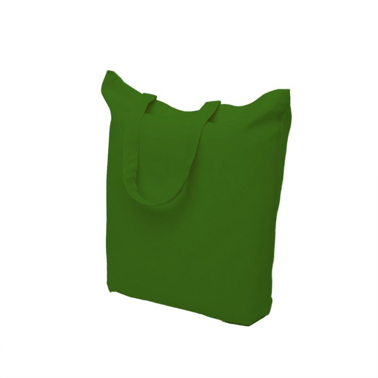 Green cotton bag with short handle