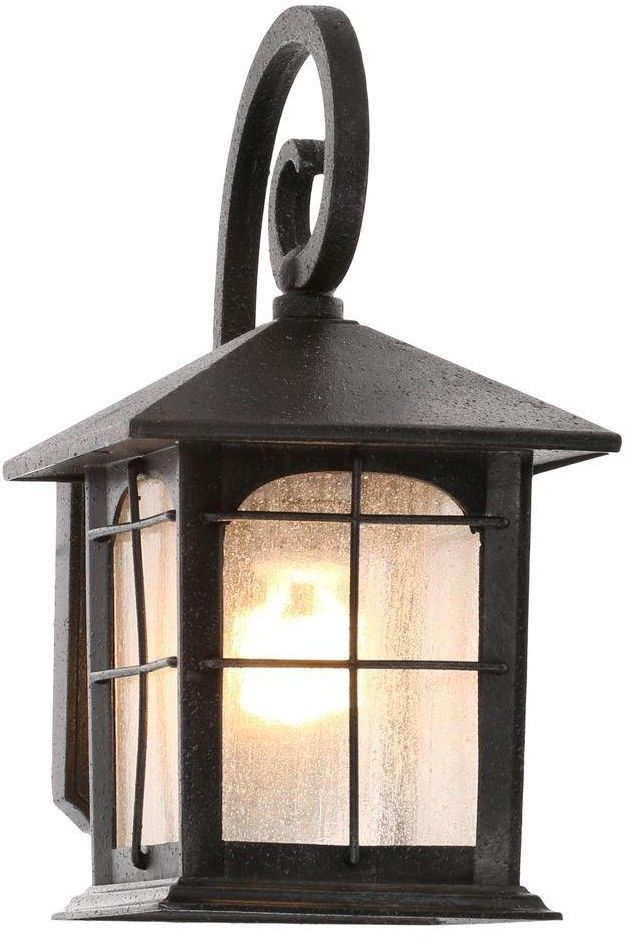 Classic Cottage Style 1 Light Aged Iron Outdoor Porch Wall Lantern