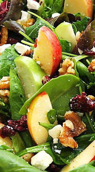 Apple-Cranberry-Walnut Salad with Crumbled Feta & Honey | #glutenfree #grainfree #vegetarian