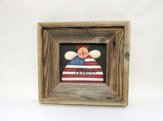 Patriotic Angel Framed in Barn Wood Sign with by barbsheartstrokes