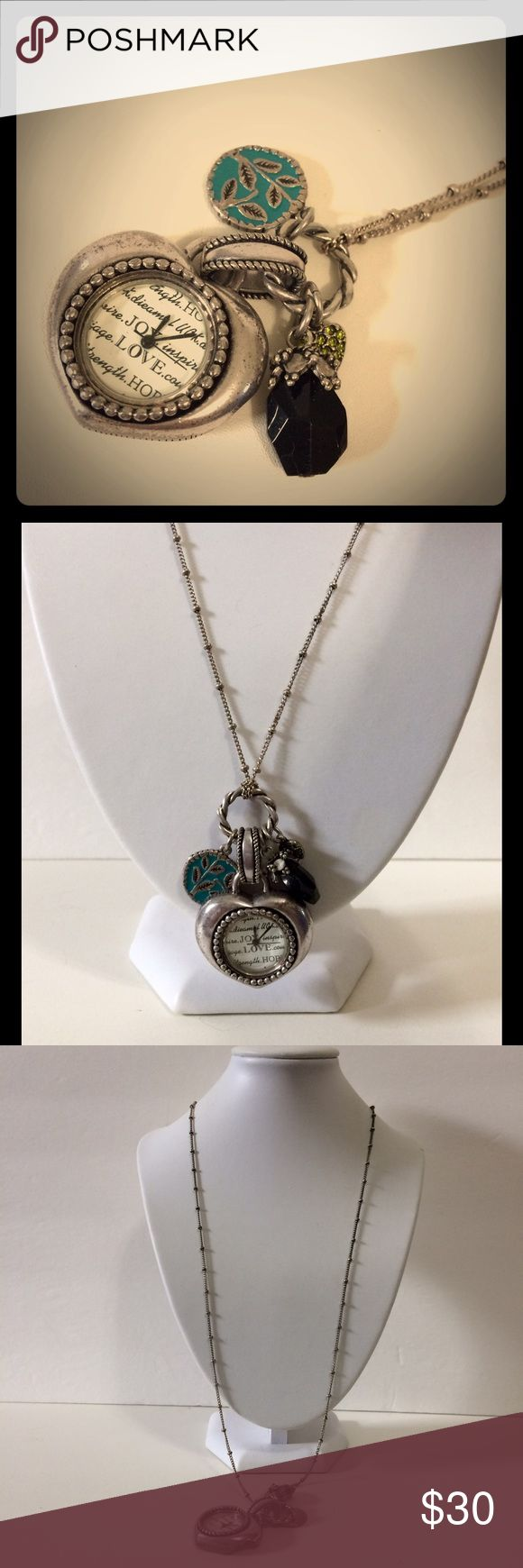 Chico's Charms 'n Watch Necklace Beautiful, long keep-time necklace from Chico's.  Vintage style.  Needs battery. Chico's Jewelry Necklaces