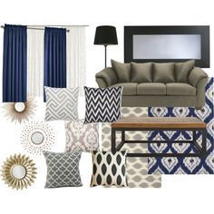 Living Room Color Scheme: Sage U0026 Navy