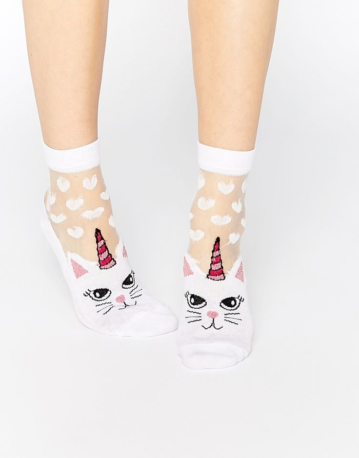 Image 1 of ASOS Cat Sheer Panel Socks With Hearts