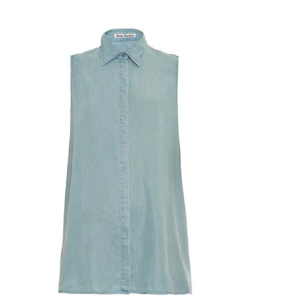 ACNE STUDIOS Ash Fluid sleeveless denim shirt (€245) ❤ liked on Polyvore featuring tops, denim, denim top, cropped shirts, cropped denim shirt, lightweight denim shirt and blue top