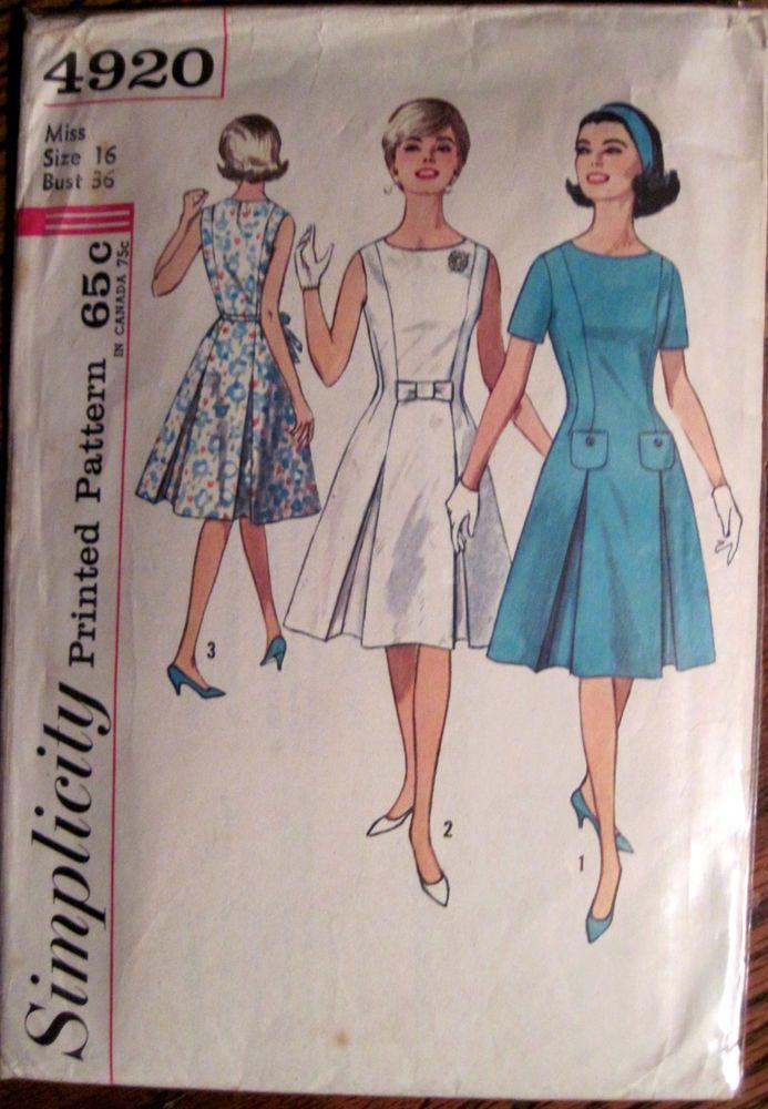 Vintage Simplicity Princess Line Dress WInverted Pleat