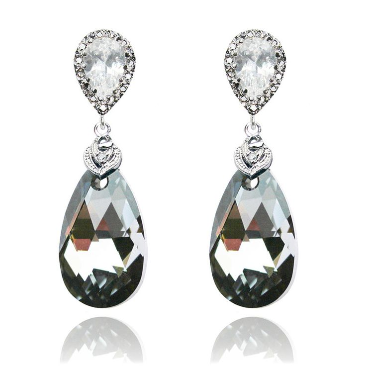 ROMANCE IN PARIS EARRINGS / AUD $58 / Handmade with beautiful Swarovski silver night teardrop crystals and sparkling Cubic Zirconia. Available via www.missamy.com.au