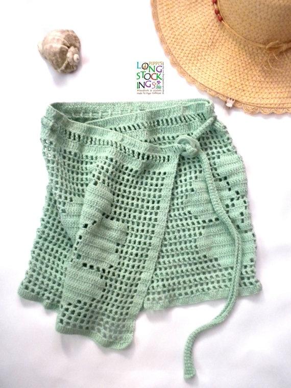 Mint Green Crochet Pareo Summer Sarong by pippisLongstockings, $48.00