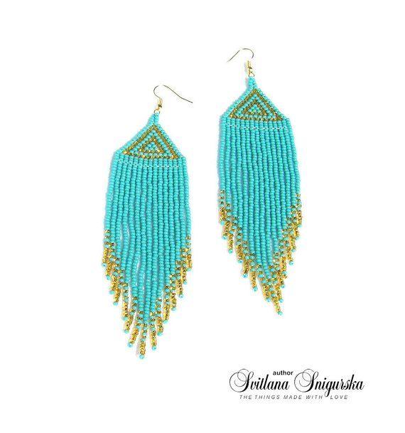 MOGRA Hand Beaded Jewelry Turquoise /& Cobalt blue Hand-Beaded Earrings