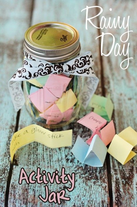 "Rainy Day activity jar. Whenever you hear ""I'm bored"", just draw from the jar for your next activity! #LivingTheBabiatorsLife"