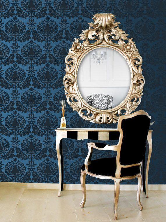 Italian Design and Victorian Home Decor - Corsini Damask Wall Painting Stencils for DIY Custom Wallpaper Look - Royal Design Studio