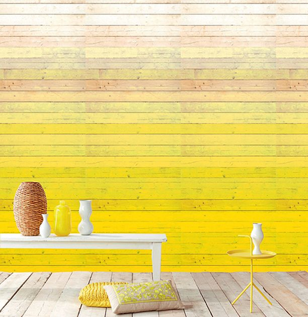 Ombre yellow accent wall