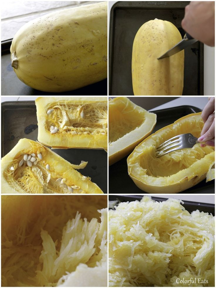 Step by step instructions on turning spaghetti squash into noodles! Top with your favorite pasta toppings for a low-carb, paleo alternative.
