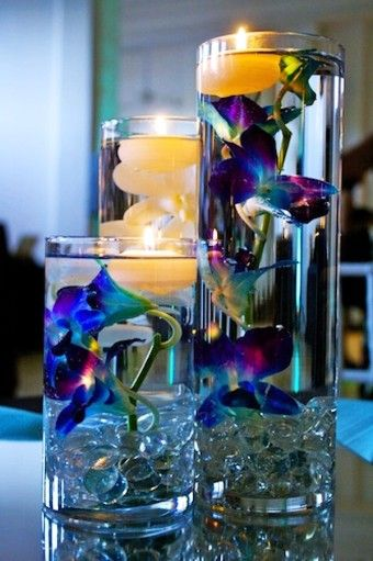 Perfect Submerged Calla Lily Water Scent Floating Candles Vase - Wedding Centerpiece White Flower Candle - LoveItSoMuch.com