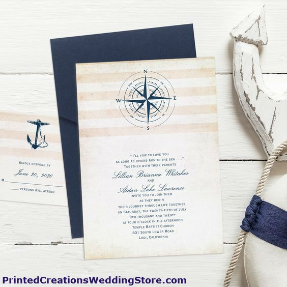 Perfect for your nautical wedding theme is this Destination Love Invitation with its pocket and nautical design. See this and many more nautical wedding invitations at www.PrintedCreationsWeddingStore.com.  #nauticalwedding