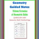 This is two guided, color-coded notebook pages for the Interactive Math Notebook on the Formulas for Geometric Solids. (prism, cylinder, pyramid, c...