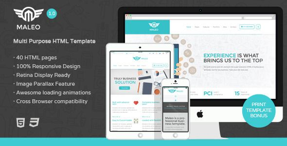 Maleo - Multipurpose HTML5 Template   http://themeforest.net/item/maleo-multipurpose-html5-template/8343696?ref=damiamio         Maleo Corporate Website Template  - turn your corporate image into high level of desirability.    Maleo brings desirability of the site, its appearance and the feelings it can stir in the user, affect the perception of your brand, the reputation of your company and the effectiveness of your communications. Maleo template designed with professional touch that…
