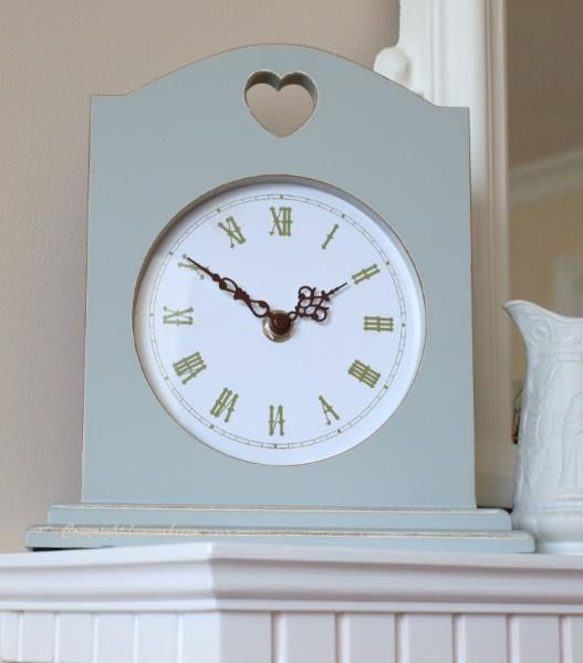 Chic Shabby Style Wooden Sage Green Mantel Clock with Heart Cut-Out Wooden Case Roman Numerals
