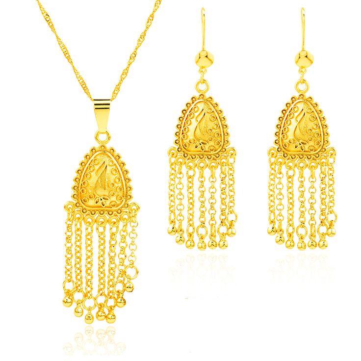 Набор ювелирных изделий эфиопии 22 К позолоченный африканских эритрея свадебные набор арабских ожерелье женщины 2016 новый набор эфиопии золото S023