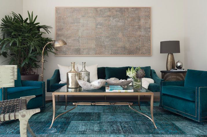 Teal couch and chairs with nailhead trim. Lovely. | desire to inspire - desiretoinspire.net