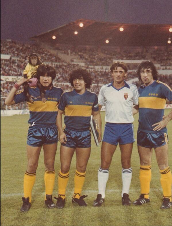 Maradona y Boca Juniors en La Romareda.