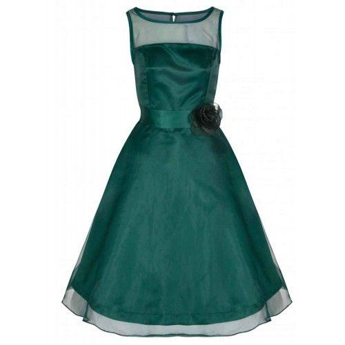 Loreto Tul Verde Jade Vestido de Dama de Honor/Graduación/Noche Swing 50s