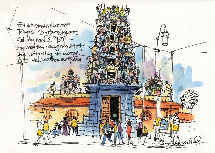 Urban Sketchers: James Richards. The gate to the Veeramakaliamman Temple on the outskirts of Chinatown, Singapore.