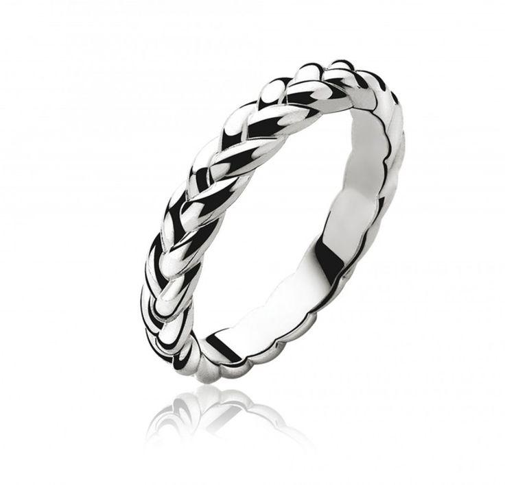 ZINZI zilveren gevlochten ring ZIR602