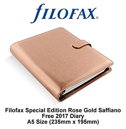 Filofax A5 Saffiano Metallic Rose Gold Gold Special Edition Organiser Planner With 2017 Week On Two Page Diary (235mm x 195mm)