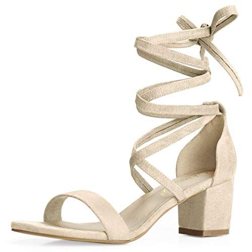 0f8105bd883 Allegra K Women's Open Toe Lace up Mid Chunky Heeled Sandals (Size ...
