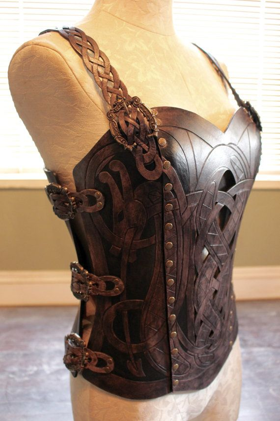 Leather armor corset, Viking design- celtic dragon cut-out design in heavy duty leather. Several sizes available!