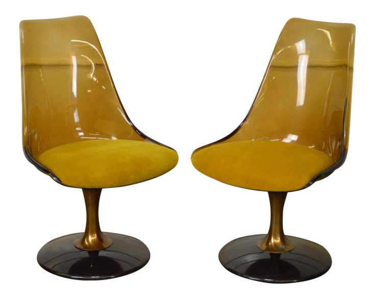 """Chromcraft Mid Century Modern Pair of Smoked Lucite Swivel Chairs AGE/COUNTRY OF ORIGIN – Approx 40 years, America DETAILS/DESCRIPTION – High quality American made vintage pair of smoked bronze colored Lucite swivel chairs. CONDITION REPORT – Mid Century Modern style / Clean vintage condition - *Some rubs on the back, scratches to the base and tarnish to the metal. MEASUREMENTS – H: 35"""" x W: 20.5"""" x D: 25"""" x Seat-H: 19"""" STORE ITEM #: 16214-fwmr"""