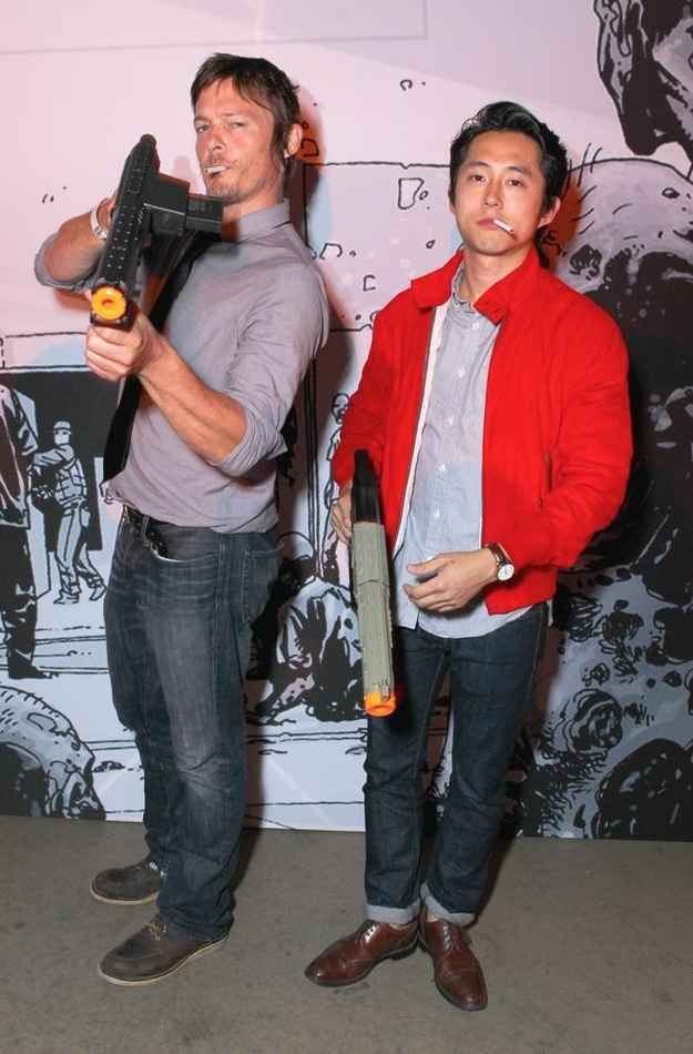Can you and Steven Yeun do a spin-off series in which there are no more clothes to be had in the zombie apocalypse?   36 Photos Of Norman Reedus That Will Give You A Zombie Boner
