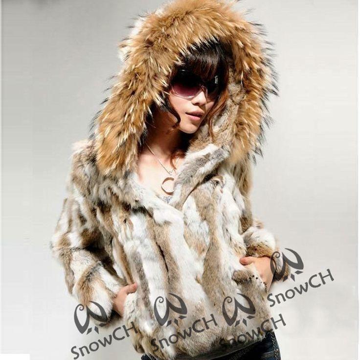 Free Shipping Genuine Rabbit Fur Coat with big hat natural rabbit fur jacket Women short Rabbit Fur coat with raccoon F807