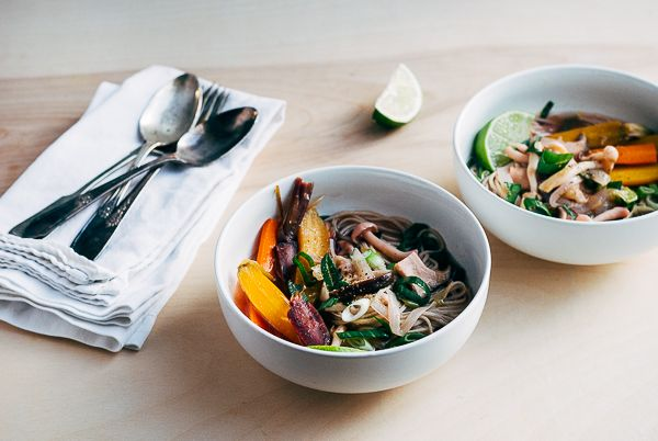 beef bone broth with spring vegetables and soba noodles