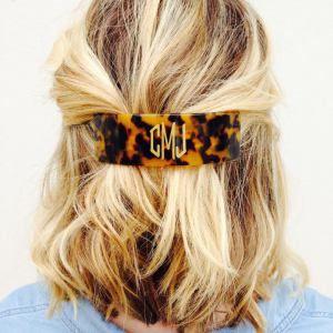 Tortoise monogram hair clip