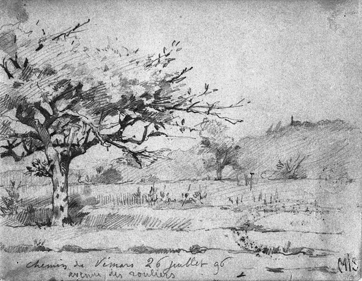 Abbema Louise,1896 - Chemin de Vemors - drawing.