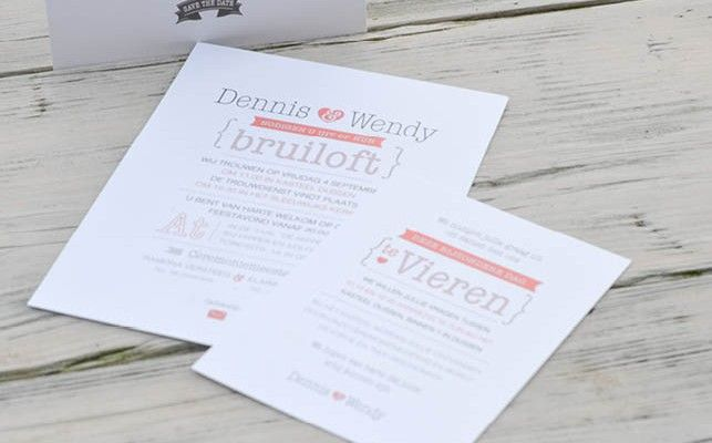 Trouwkaart en dagkaartje #typografisch #trouwen
