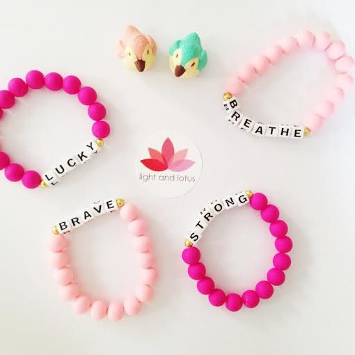 Affirmation Bracelet for Children and Fun Adults!- Pink beads combined with positive word affirmations.