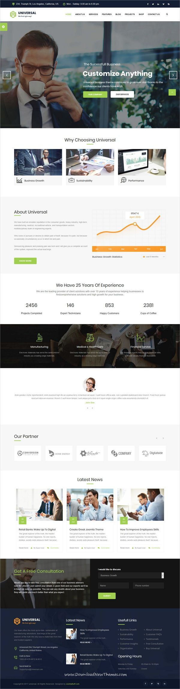 Universal is clean and modern design responsive Joomla template for #business consulting and professional services website to live preview & download click on Visit 👆 #joomlatemplates