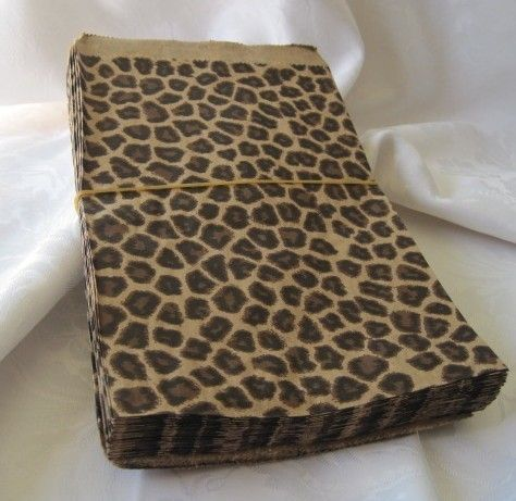 Brown Kraft Paper Bags Cheetah Leopard Animal Print  by JetJewels, $4.50